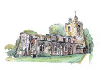 Watercolour House or venue portrait